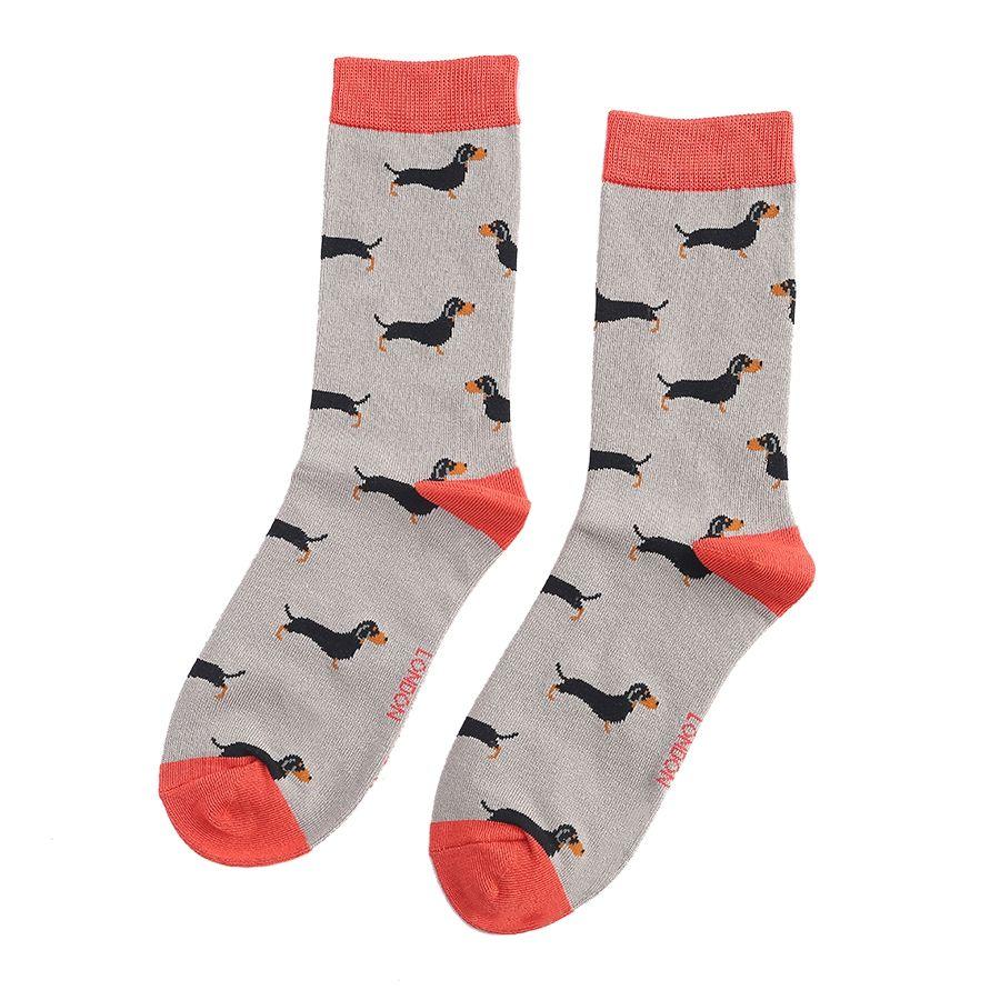 Ladies Little Sausage Dogs Bamboo Socks - Grey