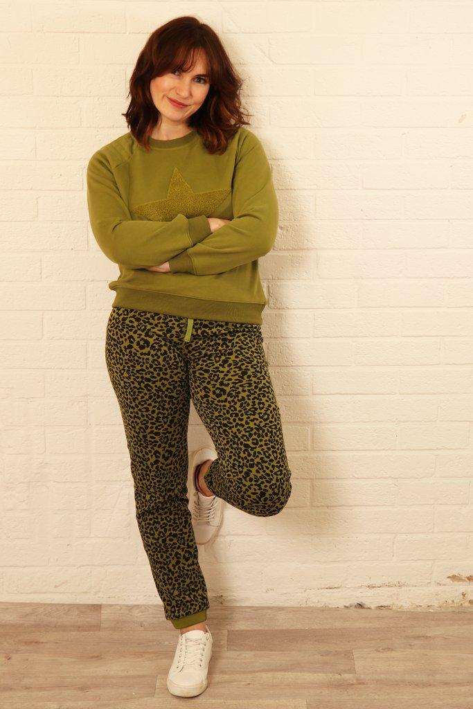 Leopard Print Lounge Suit Small Size 6-10 - Khaki