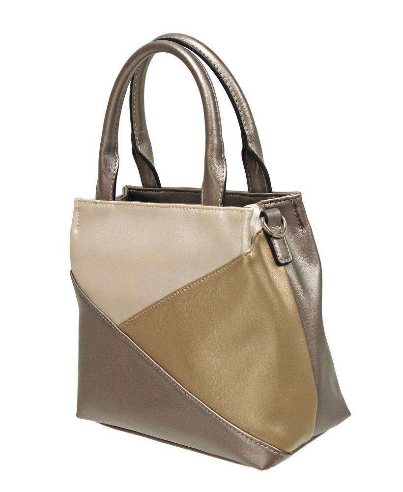 Triple Colour Grab Handbag - Metallic Gold