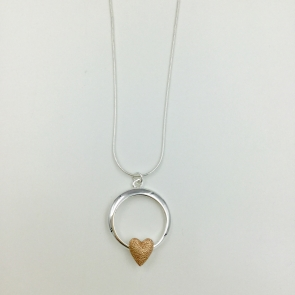 Heart in Circle Necklace & Earrings Set