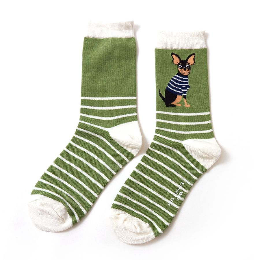 Ladies Chihuahua Stripes Bamboo Socks - Green