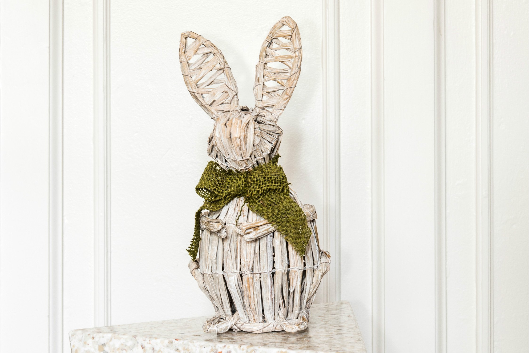 White Wooden Easter Bunny with Green Hessian Bow
