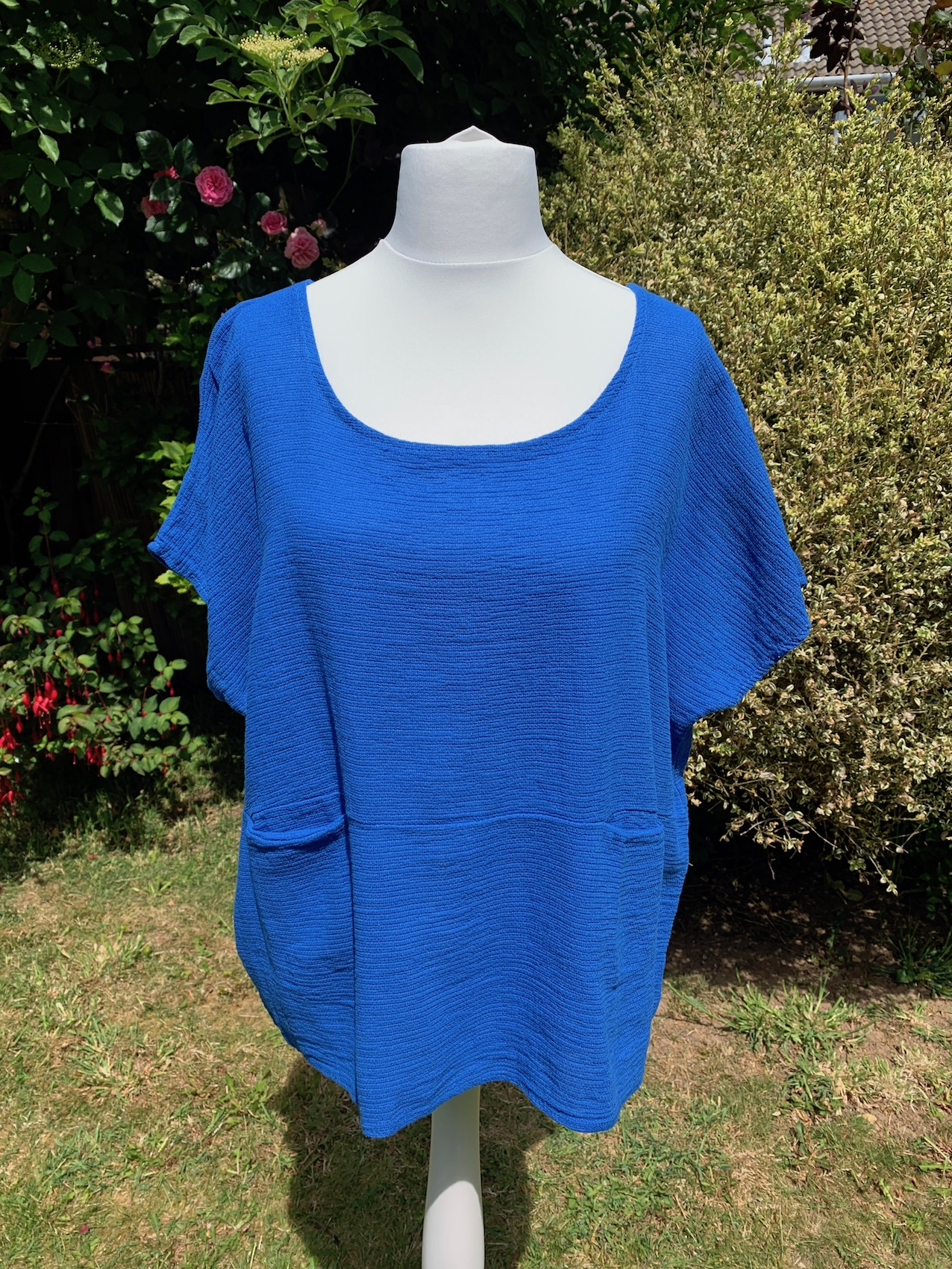 Italian Textured Cotton Top with Pockets - Various Colours