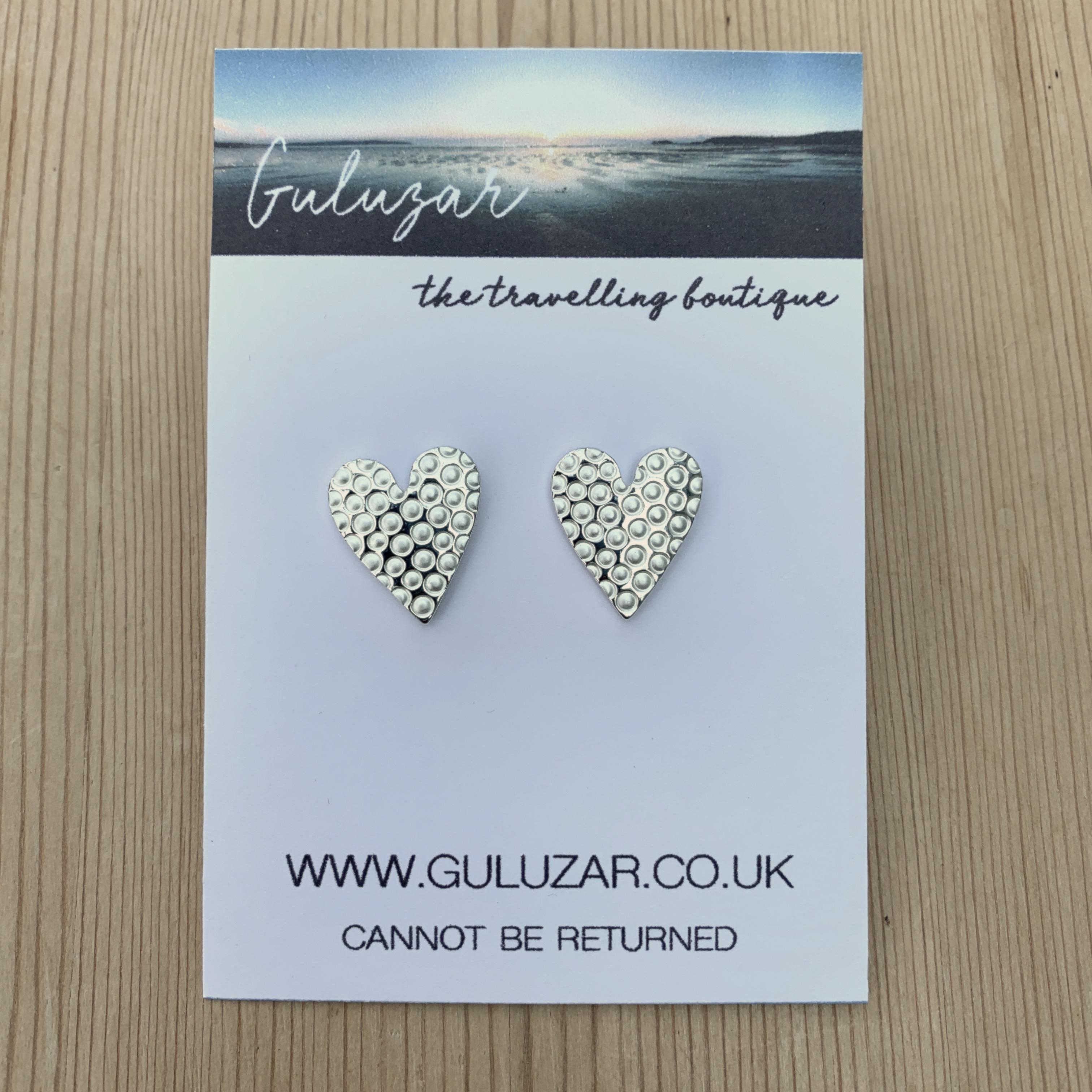 Stamped Heart Stud Earrings - Silver