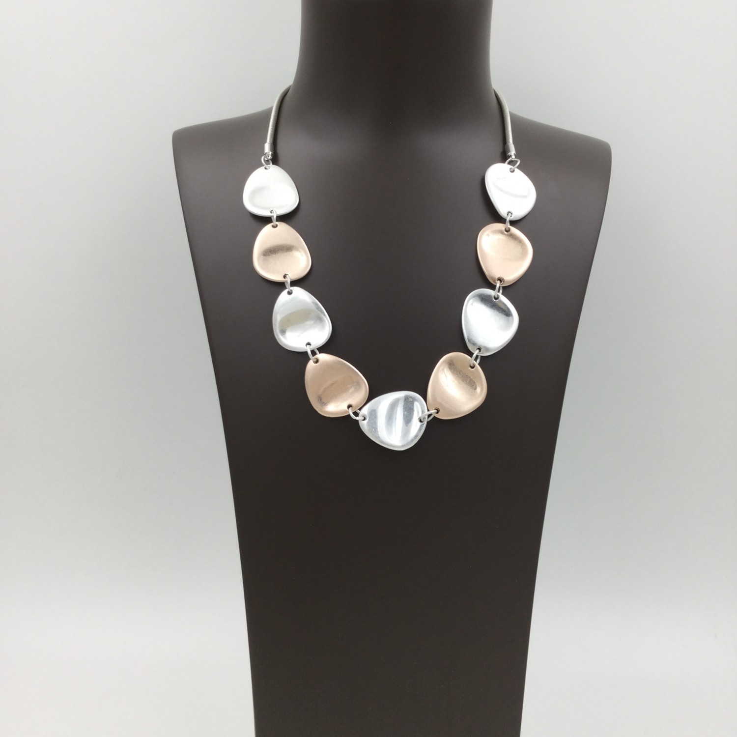 Thumb Pressed Pebble Necklace Rose Gold & Silver