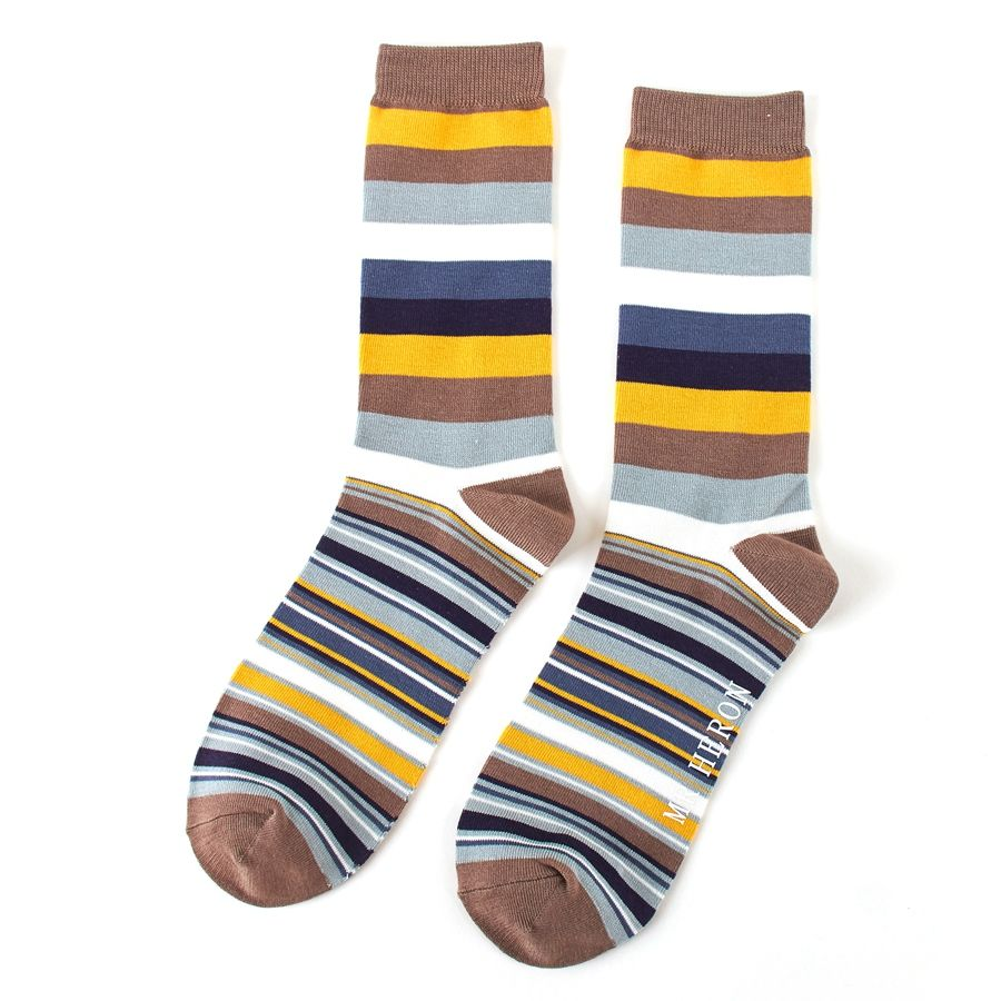 Men's Thick & Thin Stripes Bamboo Socks - Khaki