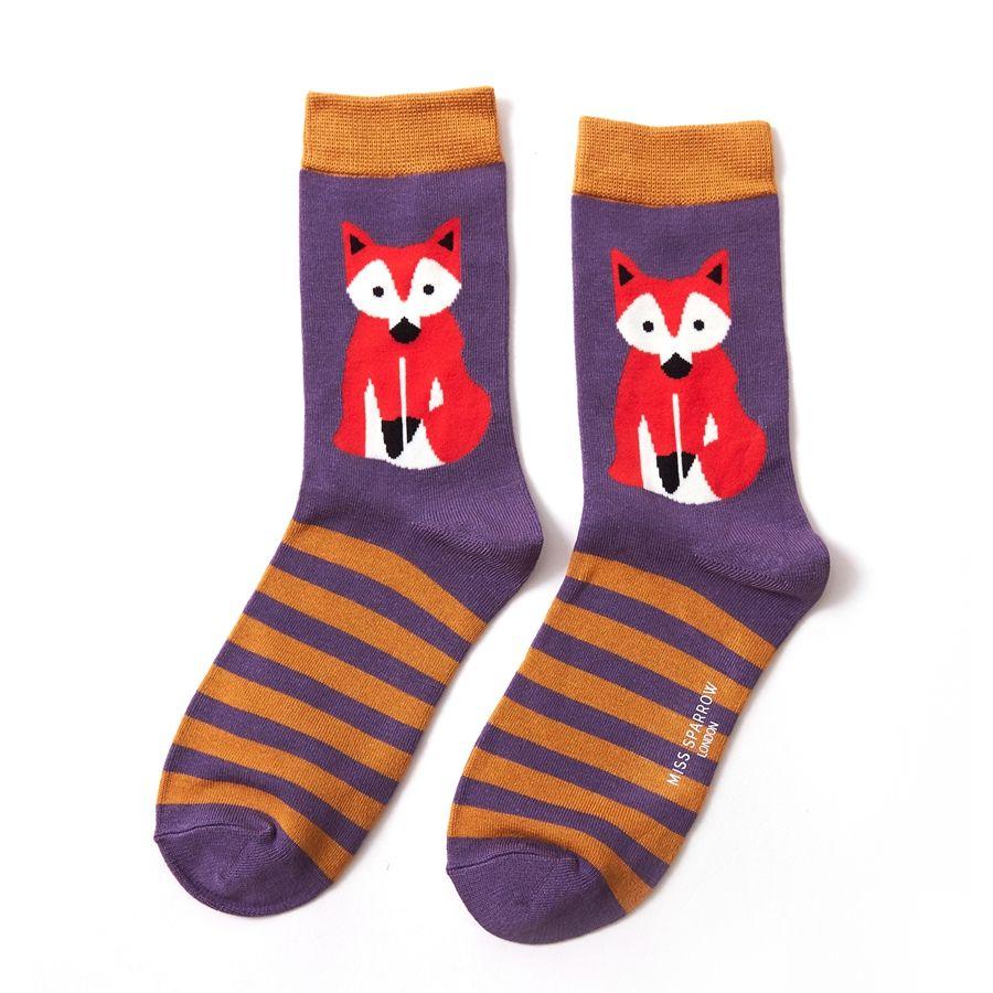 Ladies Fox & Stripes Bamboo Socks - Purple