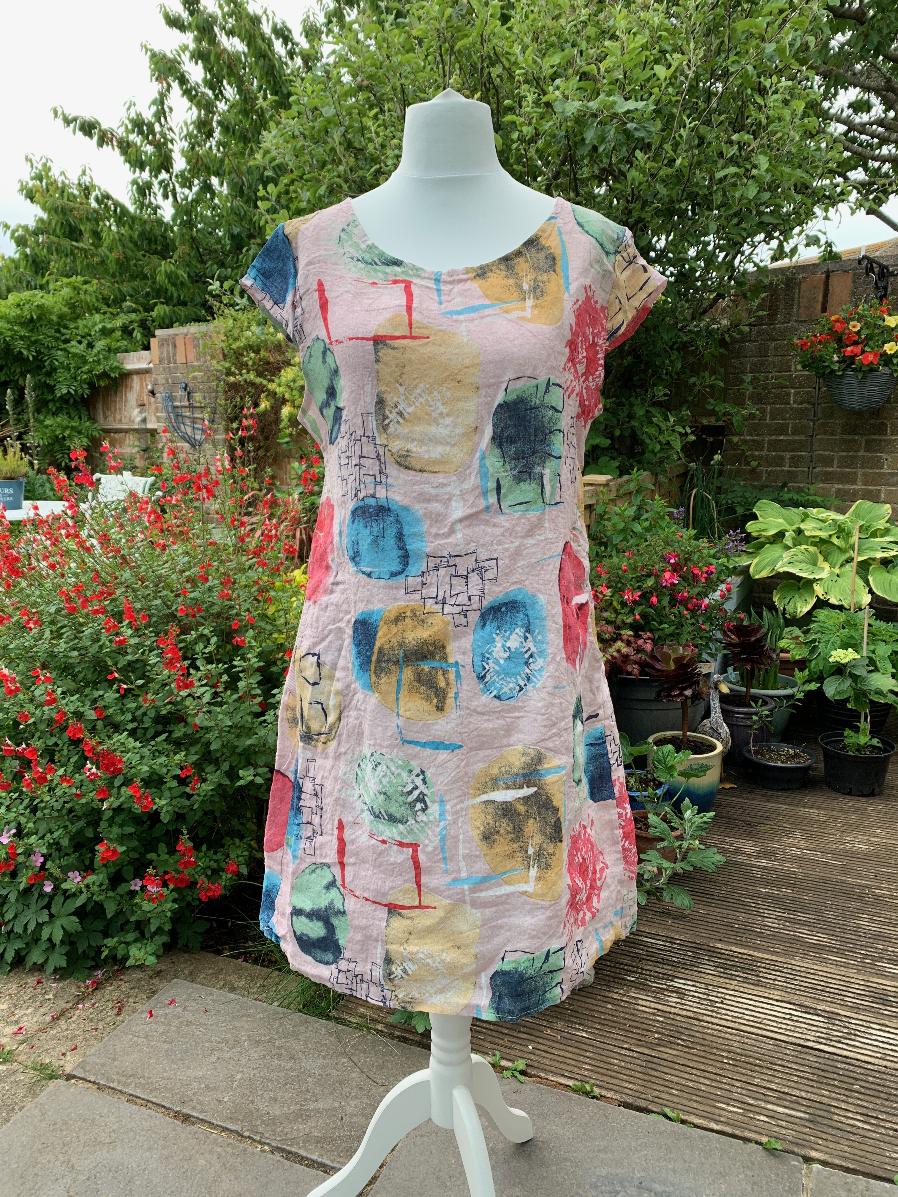 Italian Linen Abstract Printed Dress - Various Colours