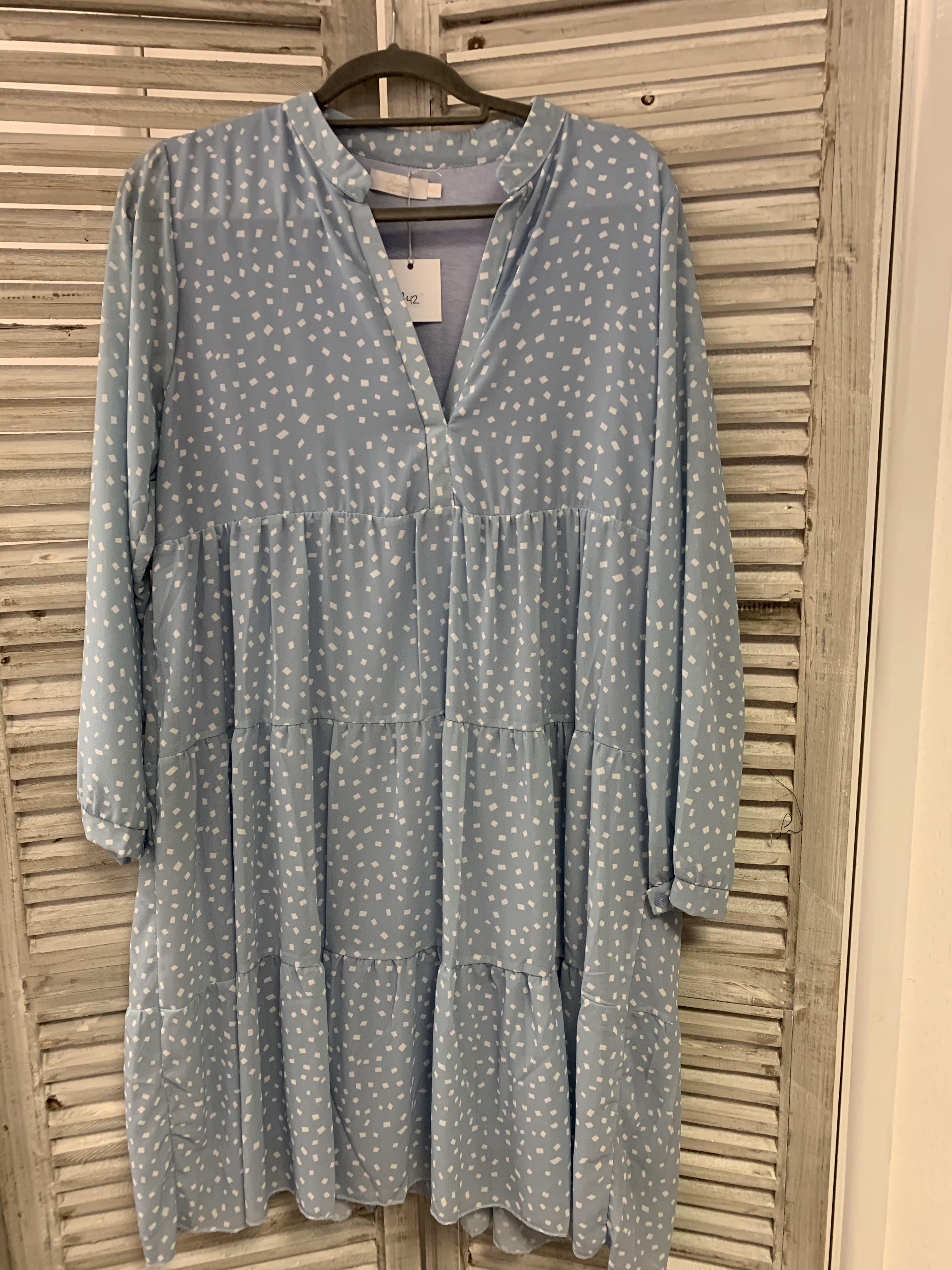 Geometric Print Tiered Dress - Light Blue