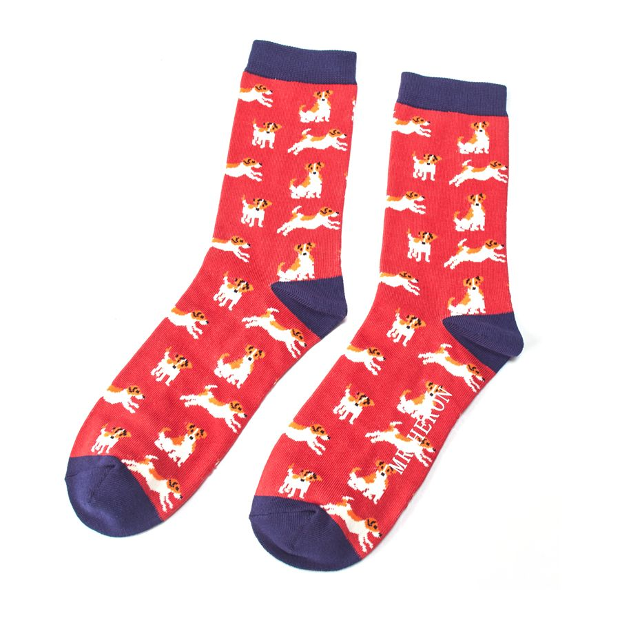 Men's Jack Russell Bamboo Socks - Red