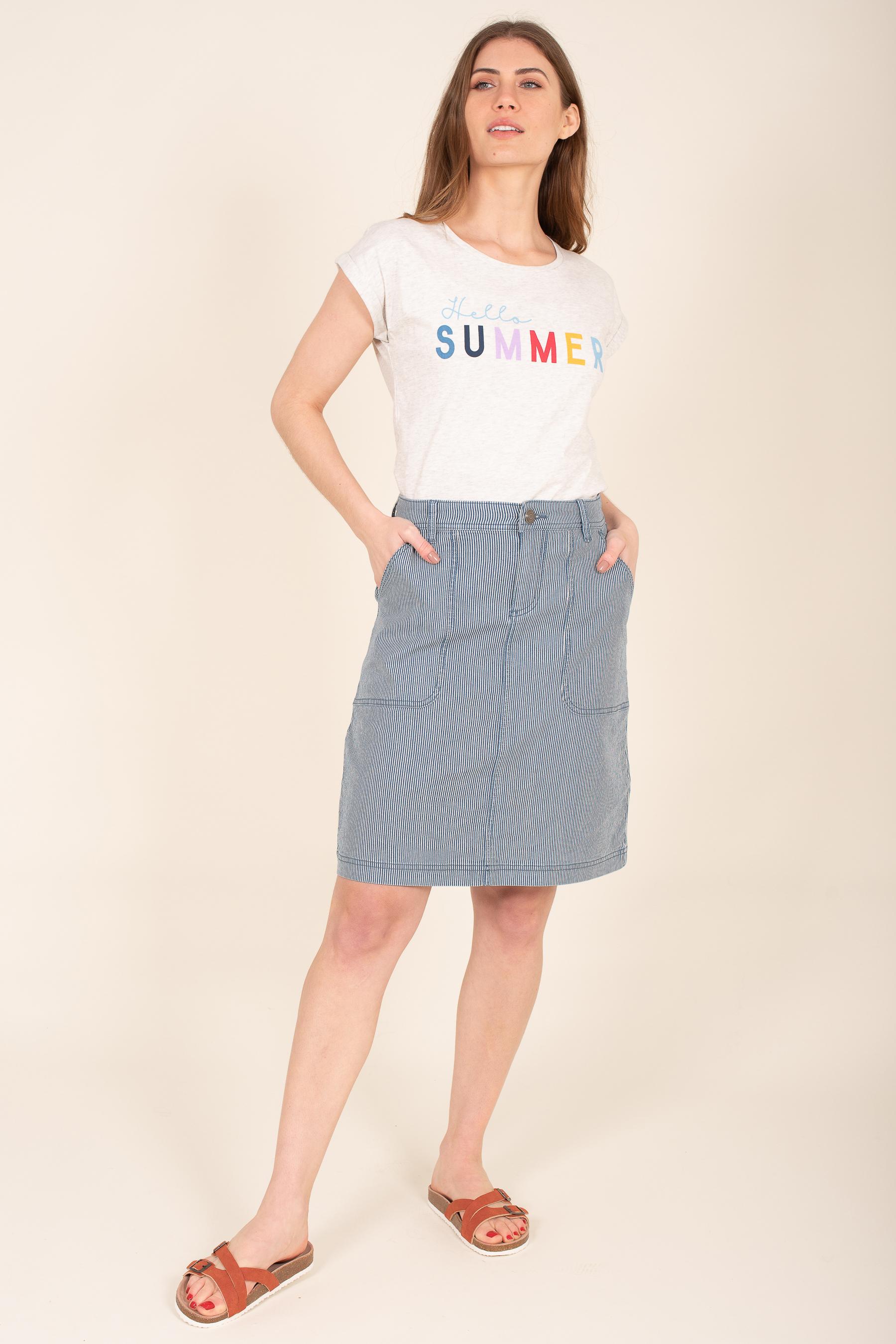 Brakeburn Stripe Denim Skirt