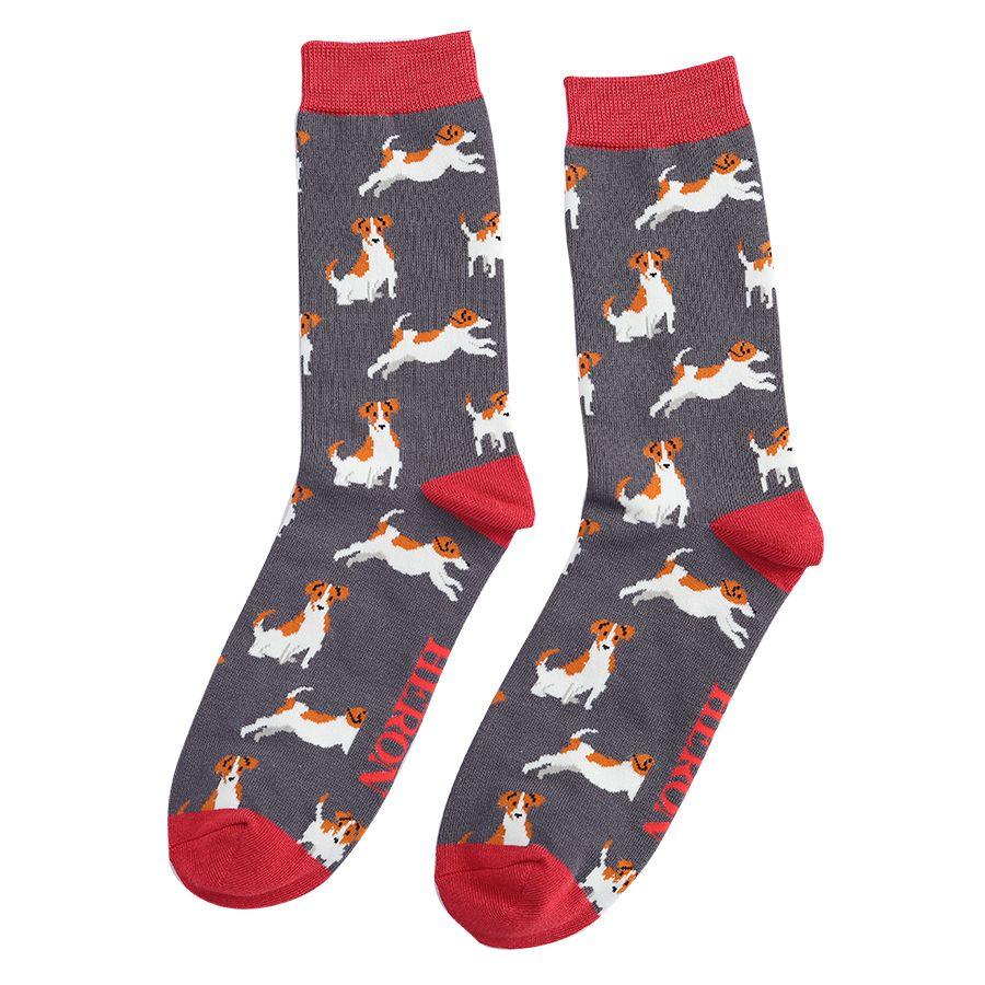 Men's Jack Russell Bamboo Socks - Grey