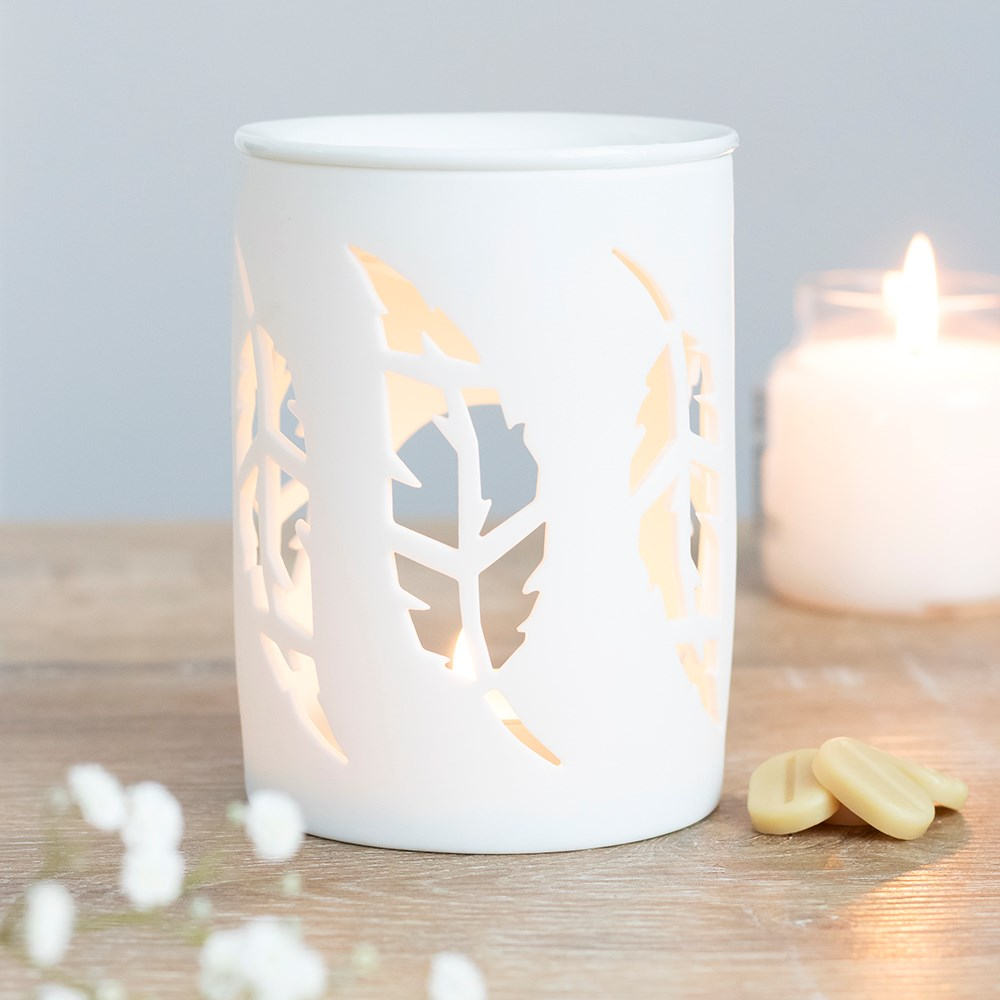 White Feather Cut Out Burner