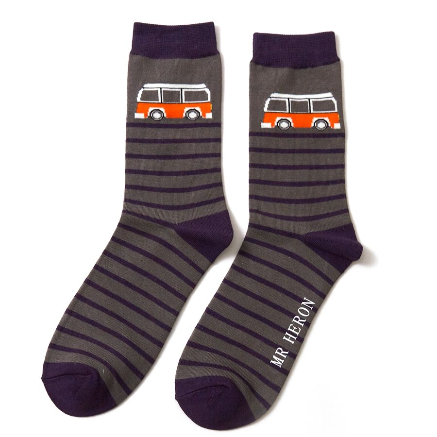 Men's Camper Stripe Bamboo Socks - Grey