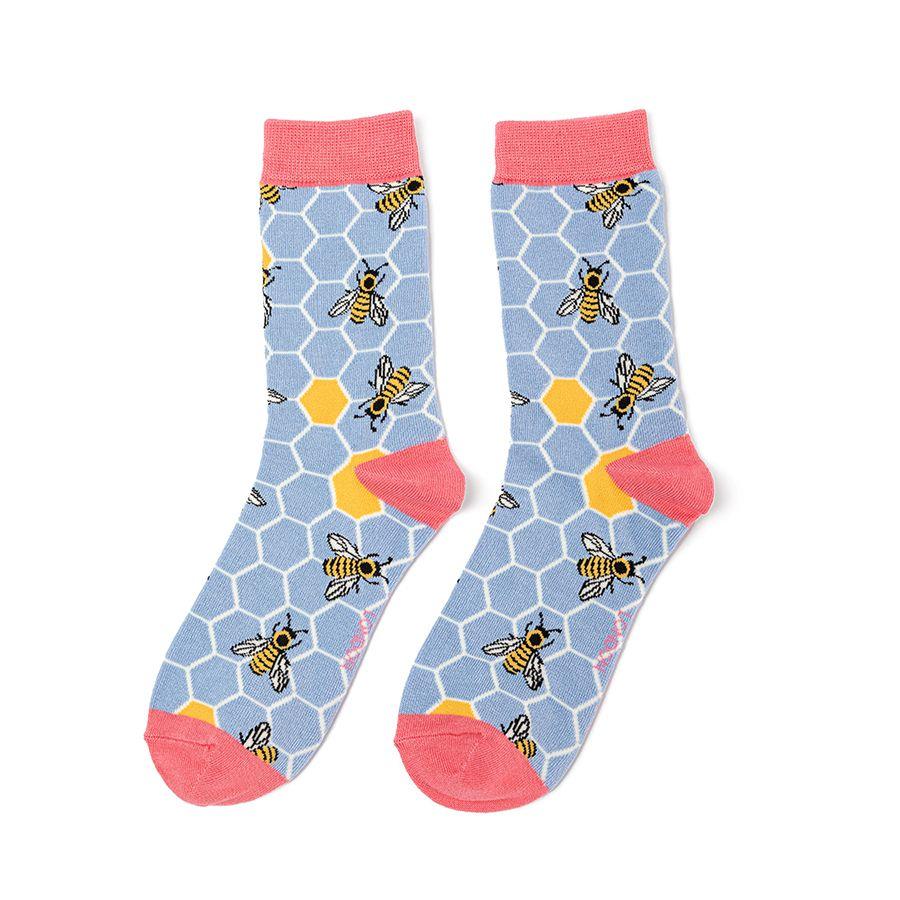 Ladies Bee Hive Bamboo Socks - Powder Blue