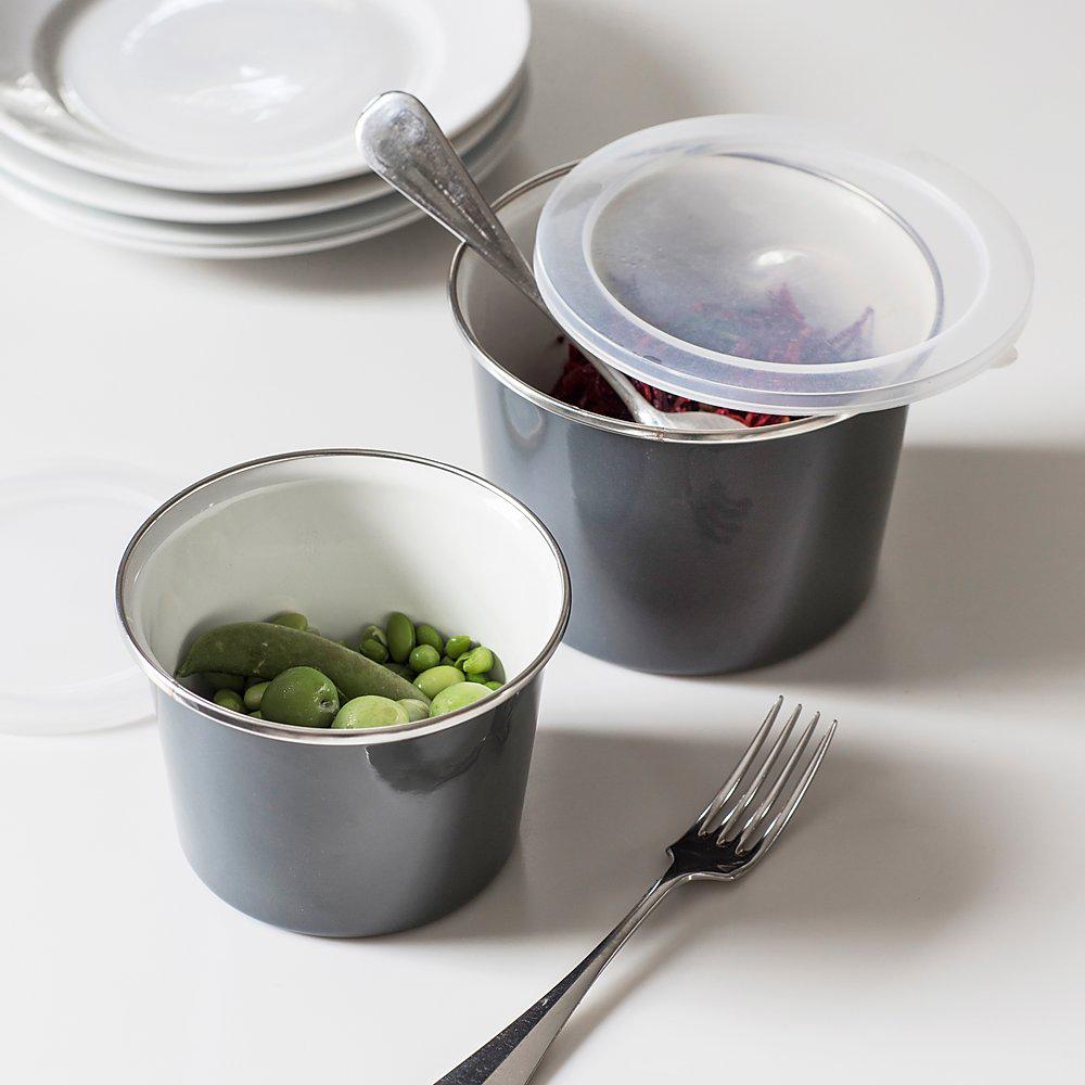 Enamel Food Pots - Set of 2
