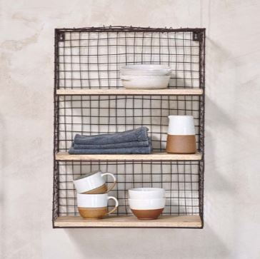 Wire & Mango Wood Wall Shelf