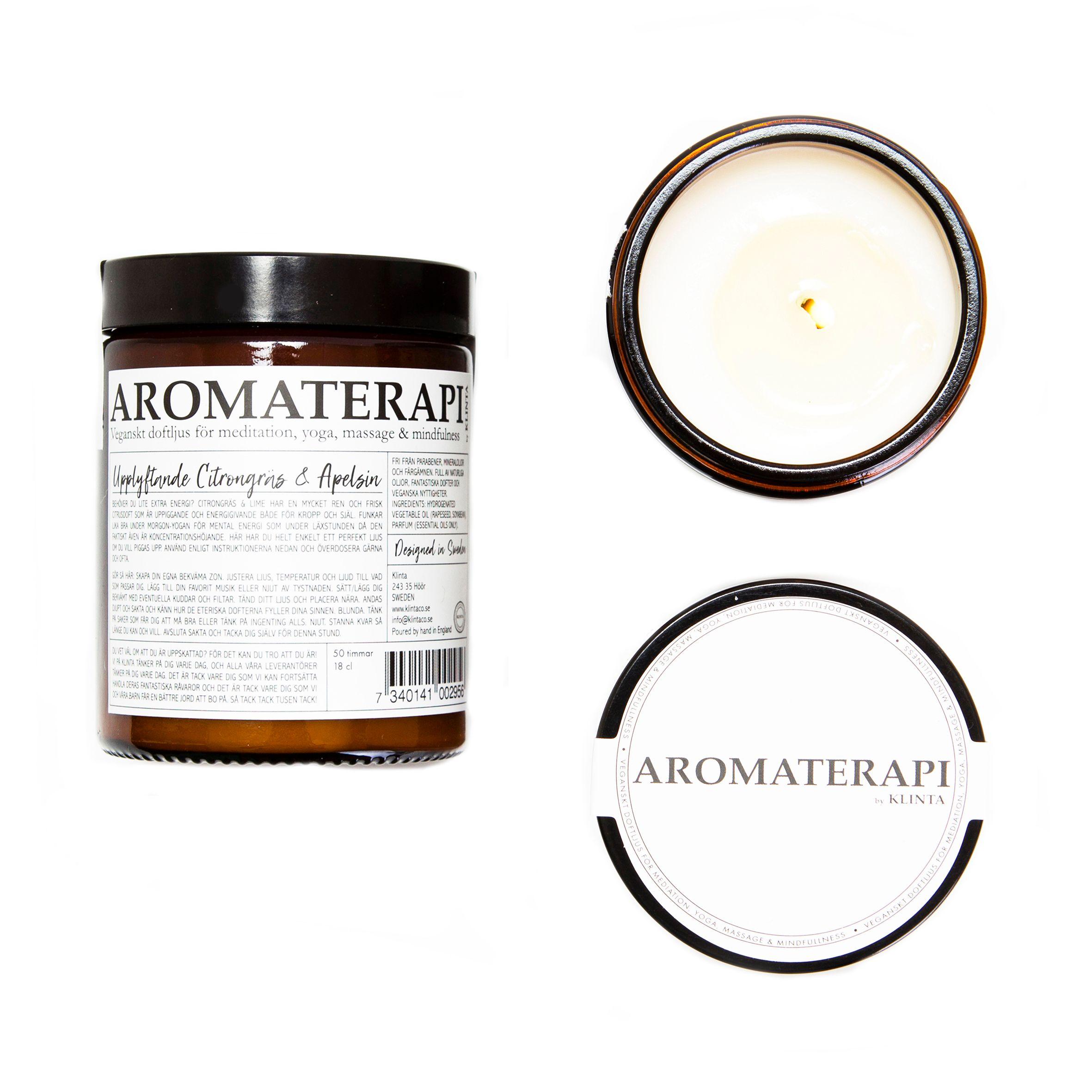 Aromaterapi ljus, citrongräs & apelsin - Klinta