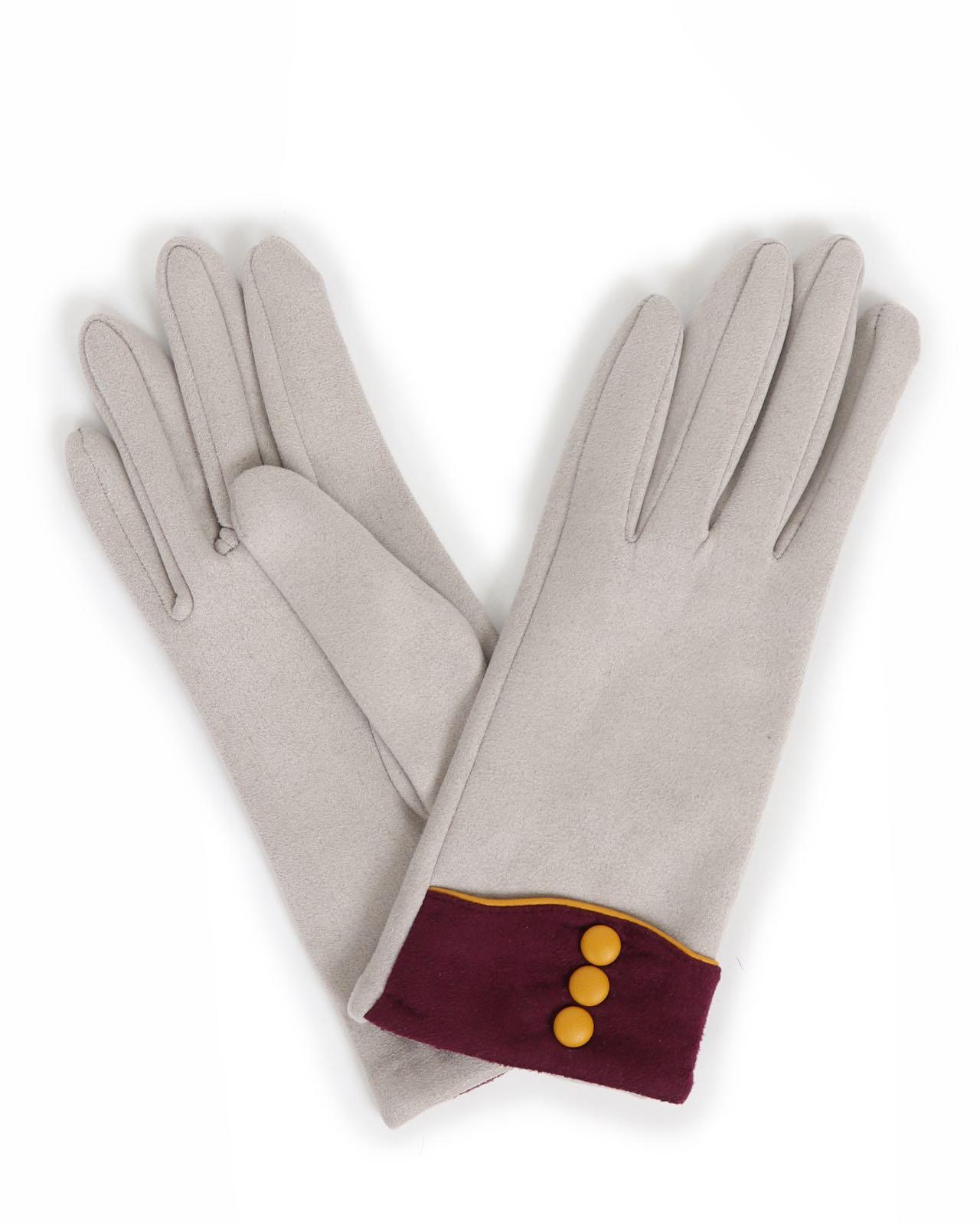 Powder Cassie faux suede gloves in light grey