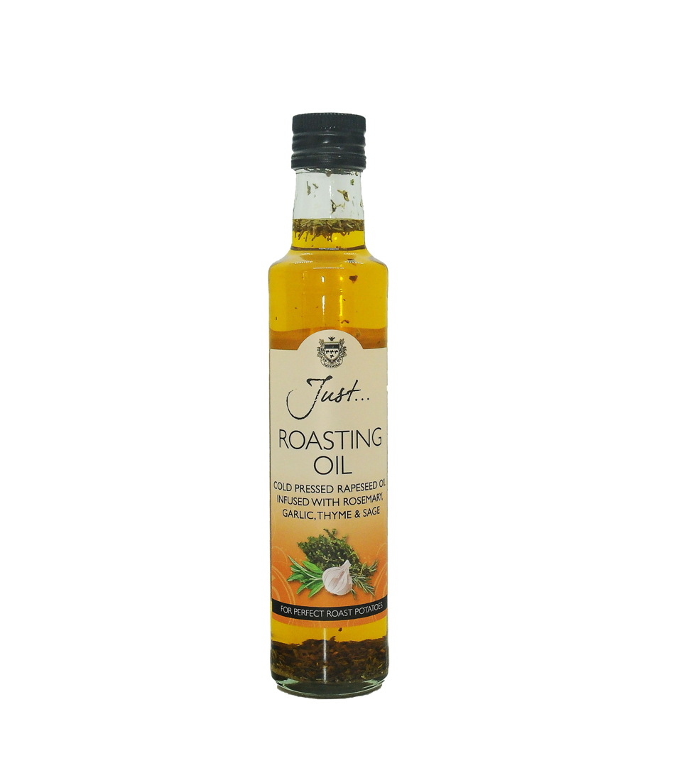 Just Roasting Oil - British Cold Pressed Rapeseed Oil Infused with Garlic, Rosemary, Thyme and Sage, 250 ml (Pack of 6)
