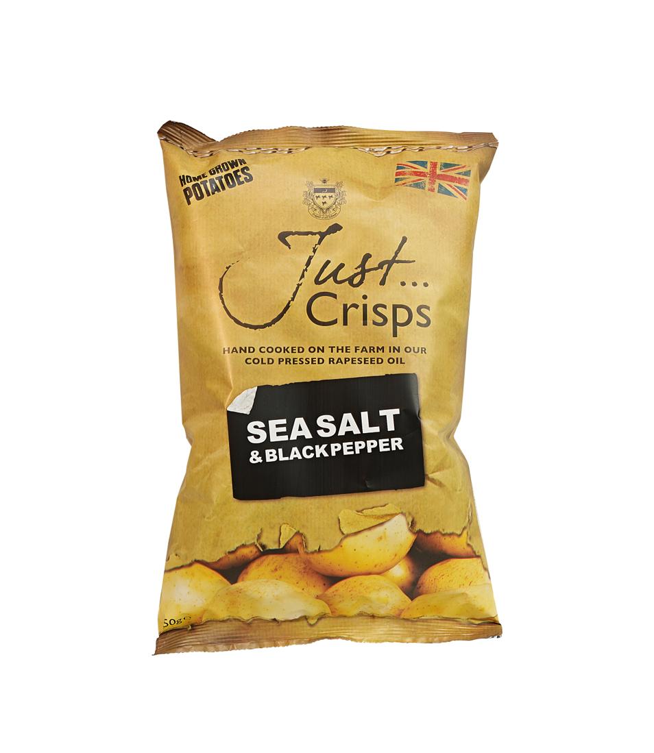 Just Crisps Sea Salt & Black Pepper 12 x 150g Sharing Size