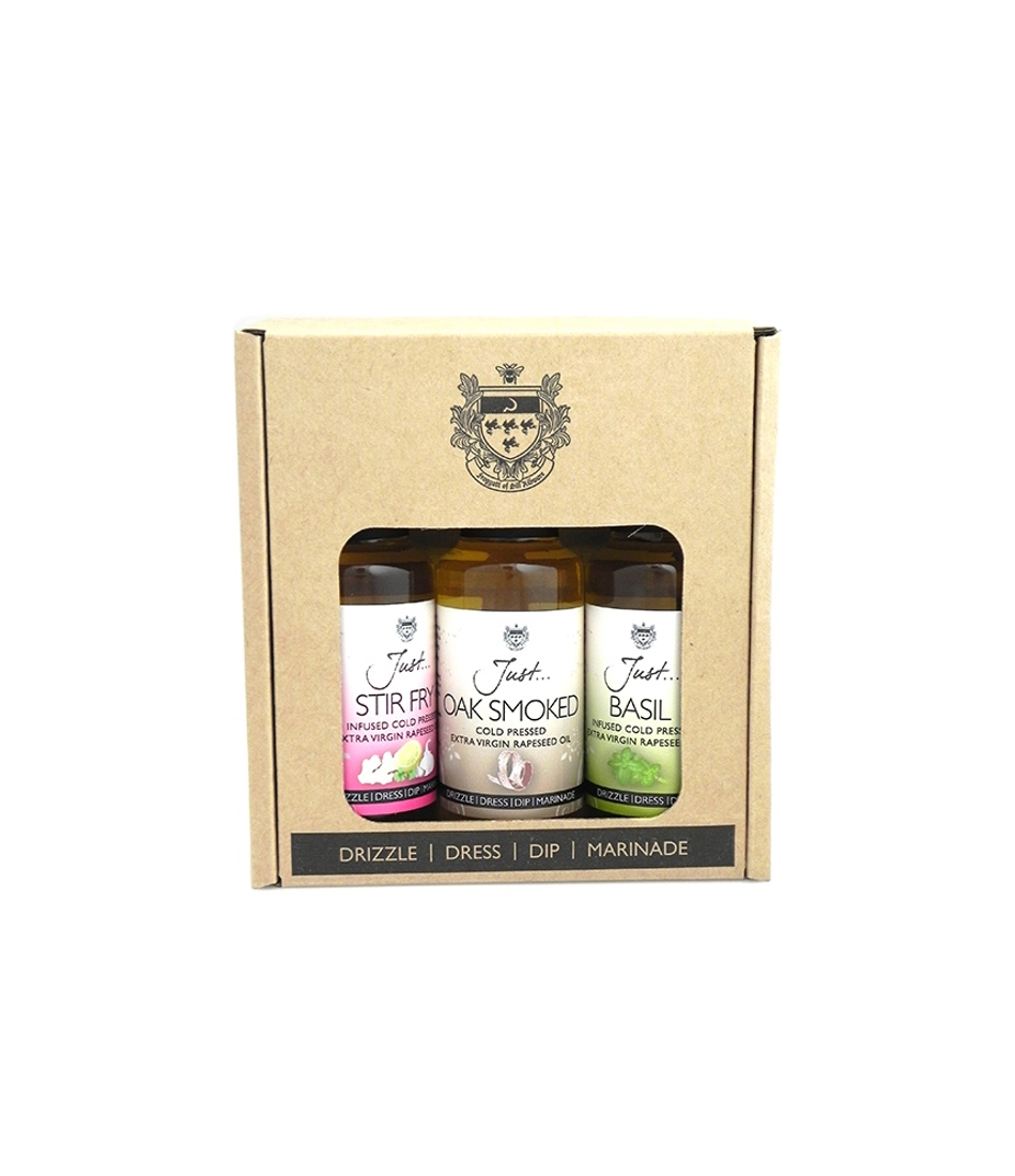 Just Oil Speciality Gift Pack - Stir Fry, Basil and Oak-Smoked Infused Cold Pressed Rapeseed Oil, 100 ml (Pack of 3)