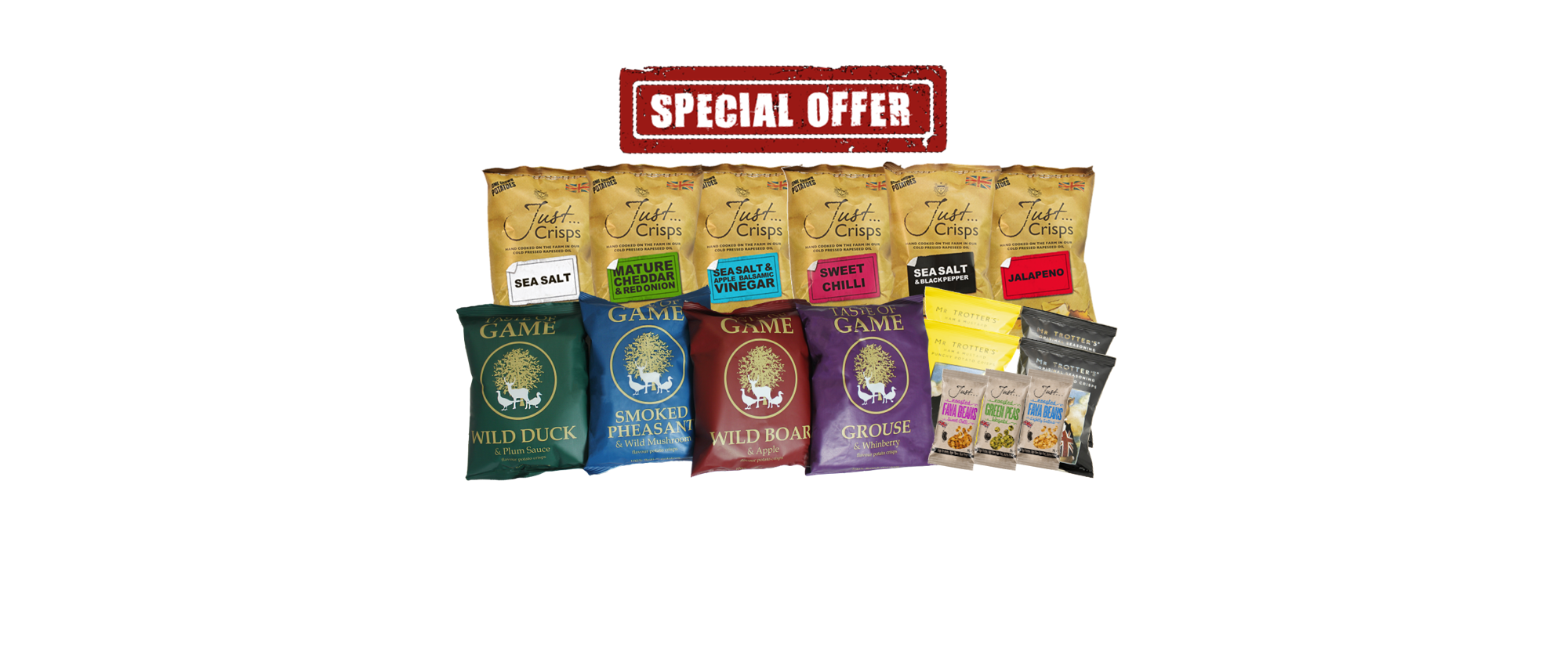 Variety Box, a complete selection of all our crisps, peas and beans
