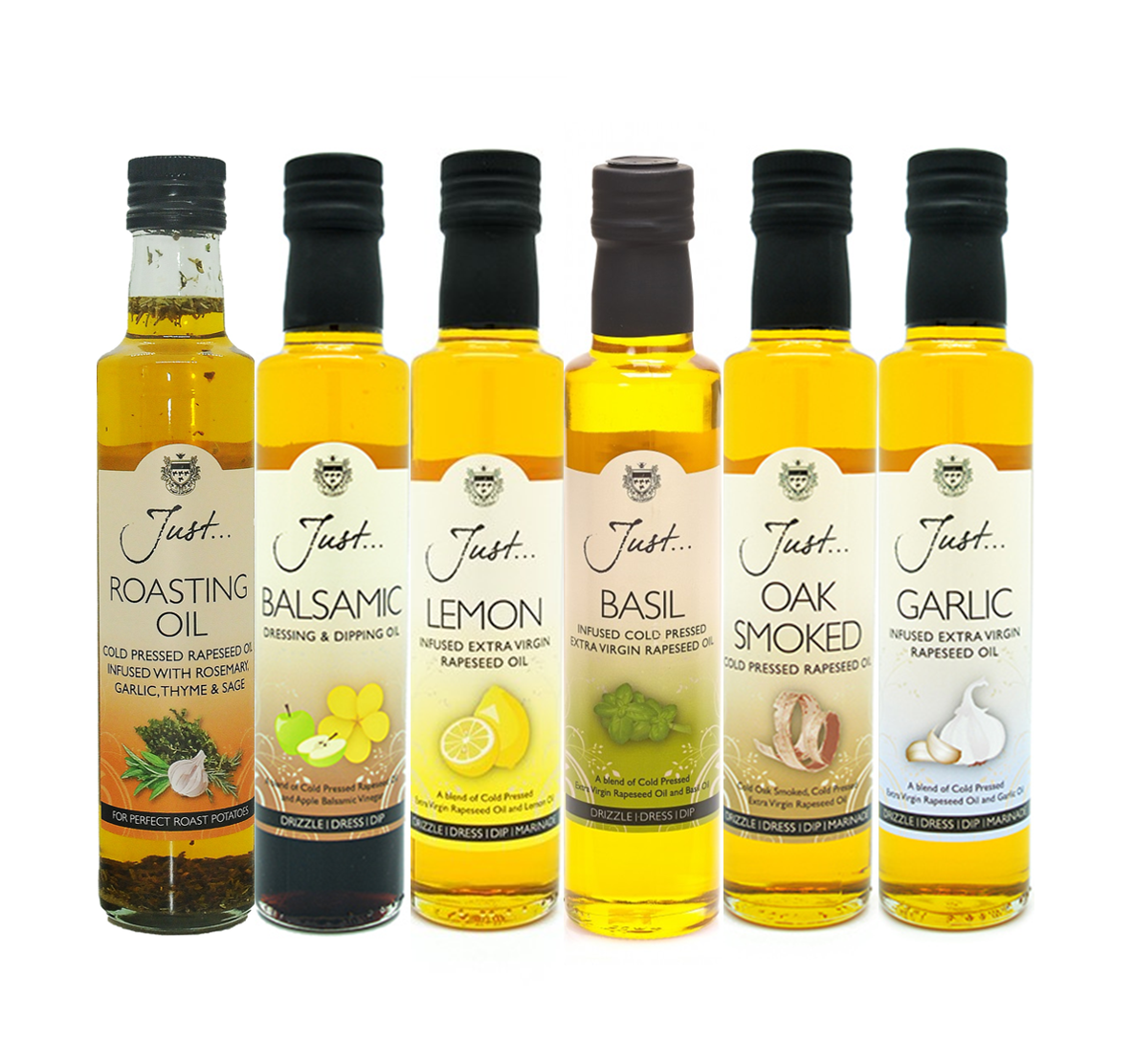 Just Oil Cook's Collection Mixed Box - Roasting Oil, Balsamic, Lemon, Basil, Oak Smoked and Garlic Infused Rapeseed Oil, 250 ml (Pack of 6)