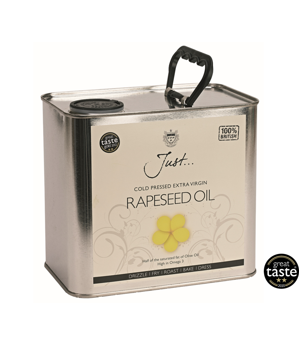Just Oil British Rapeseed Oil, Cold Pressed Extra Virgin, 2.5 Litre