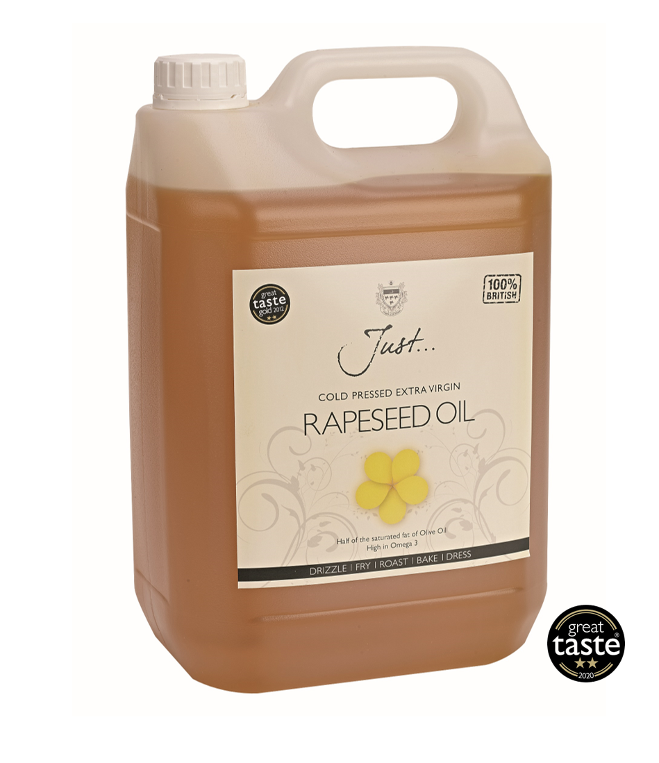 Just Oil British Rapeseed Oil, Cold Pressed Extra Virgin, 5 Litre