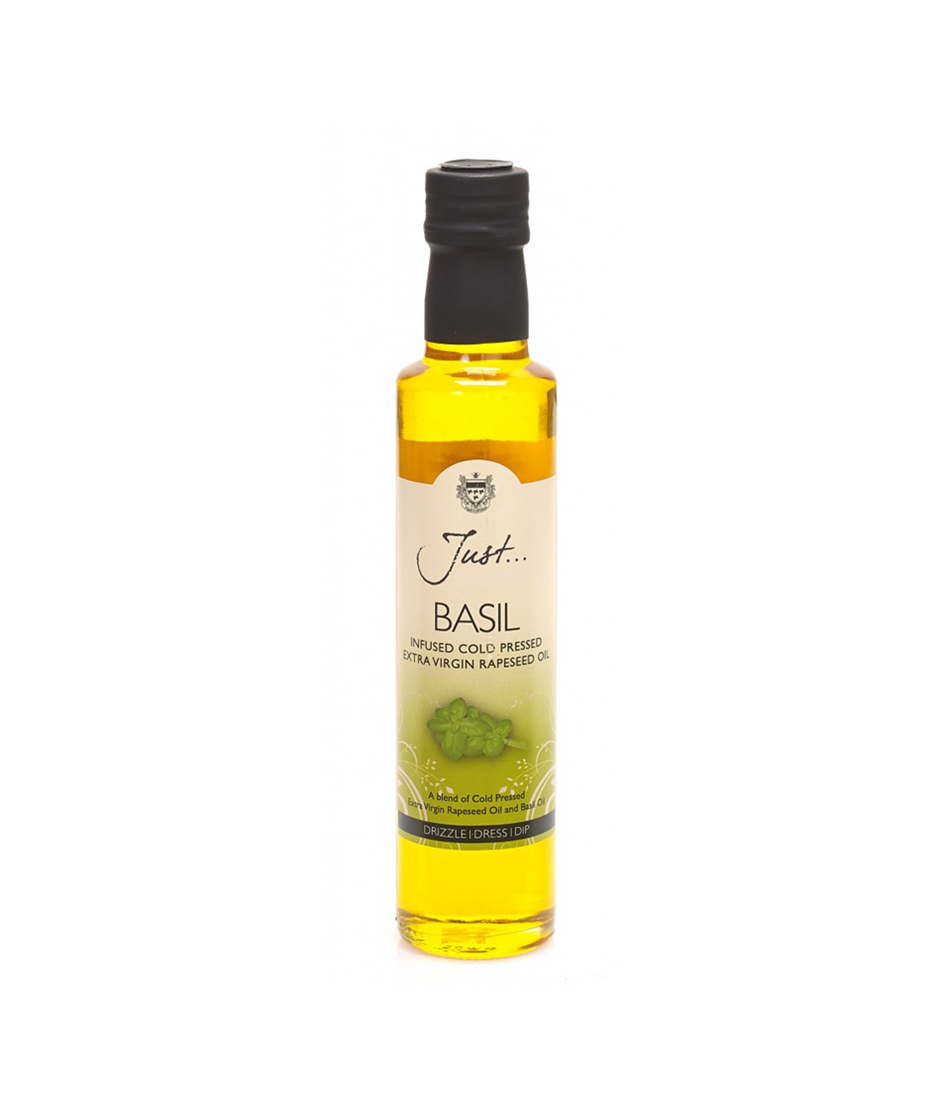 Just Basil Infused Rapeseed Oil, Cold Pressed Extra Virgin, 250 ml (Pack of 6)