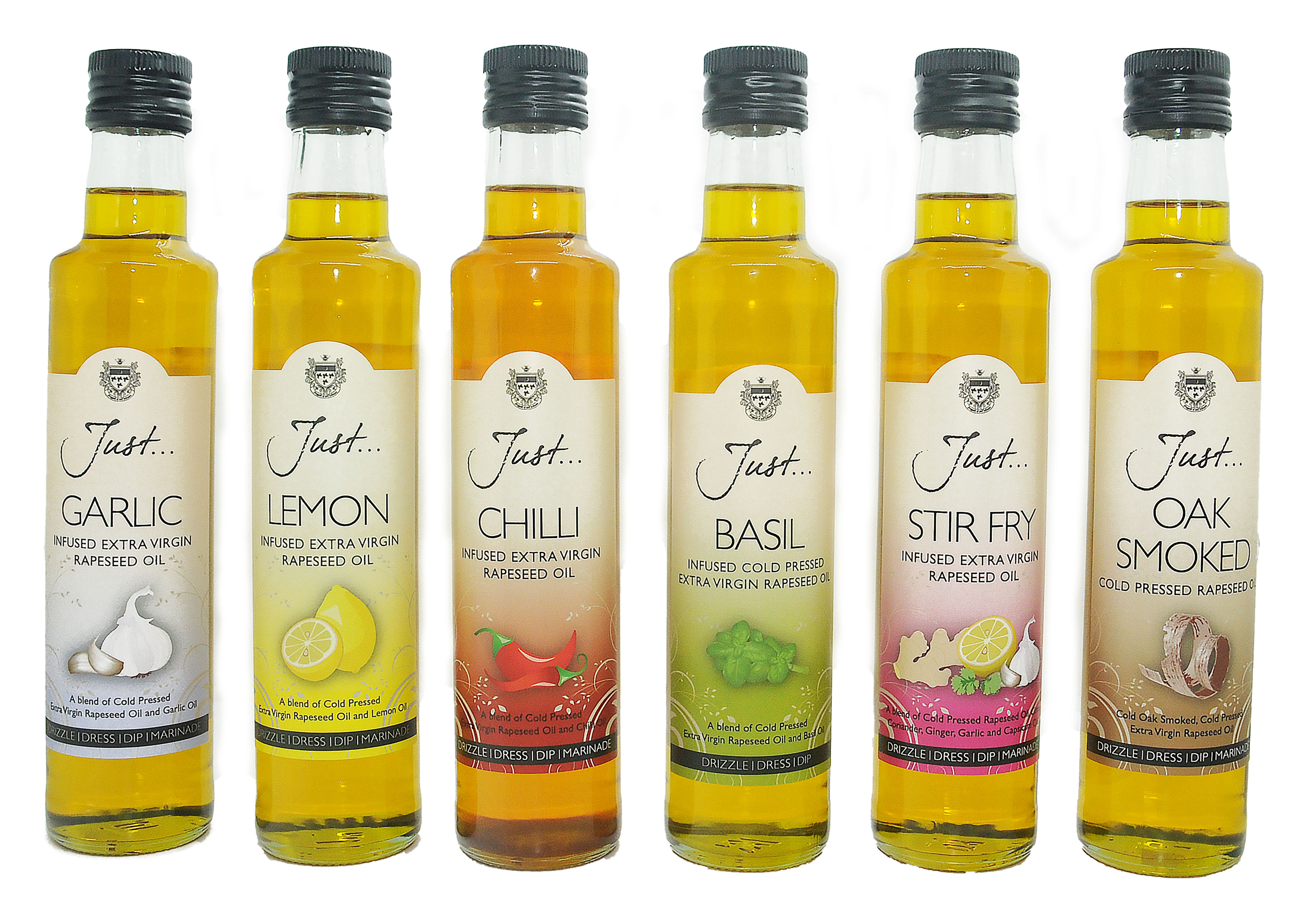 Just Oil Classic Mixed Box - Garlic, Lemon, Chilli, Basil, Stir Fry and Oak Smoked Infused Cold Pressed Rapeseed Oil 250 ml (Pack of 6)