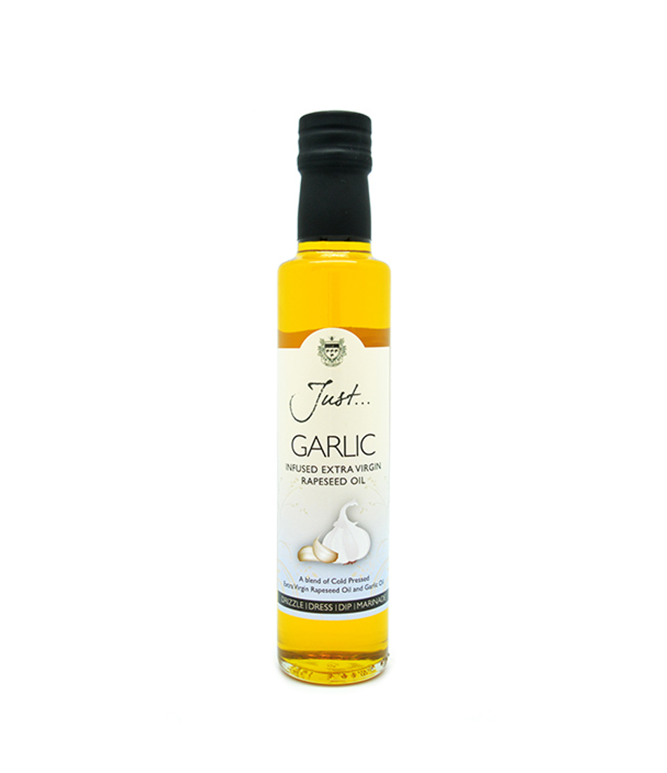 Just Garlic Infused British Rapeseed Oil, Cold Pressed Extra Virgin, 250 ml (Pack of 6)