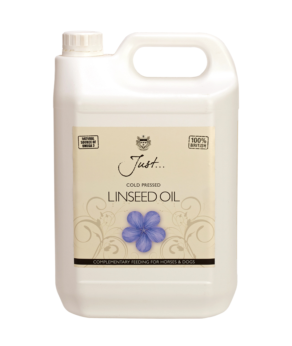 Just Oil British Linseed Oil (Flax), Cold Pressed - Supplement for Horses, Dogs and Cats, 5 Litre