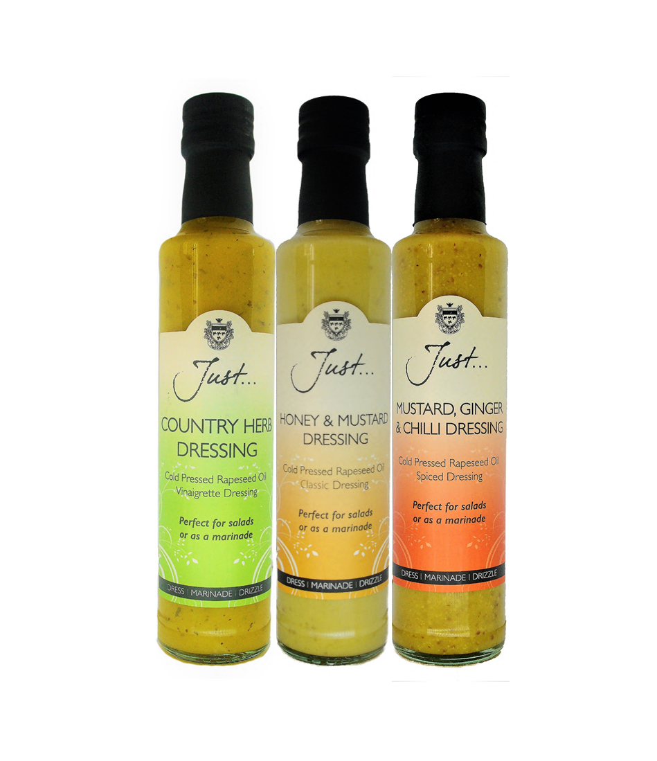 Just Oil Country Herb, Honey & Mustard and Mustard, Ginger & Chilli Dressings, British Rapeseed Oil, Cold Pressed Extra Virgin, 250 ml (Pack of 3 x 2)