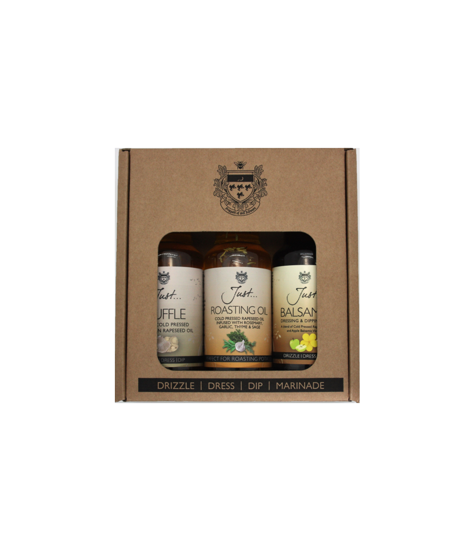 Just Oil (3 x 100ml) Cook's Gift Pack - Balsamic, Truffle & Roasting Infused Rapeseed Oil
