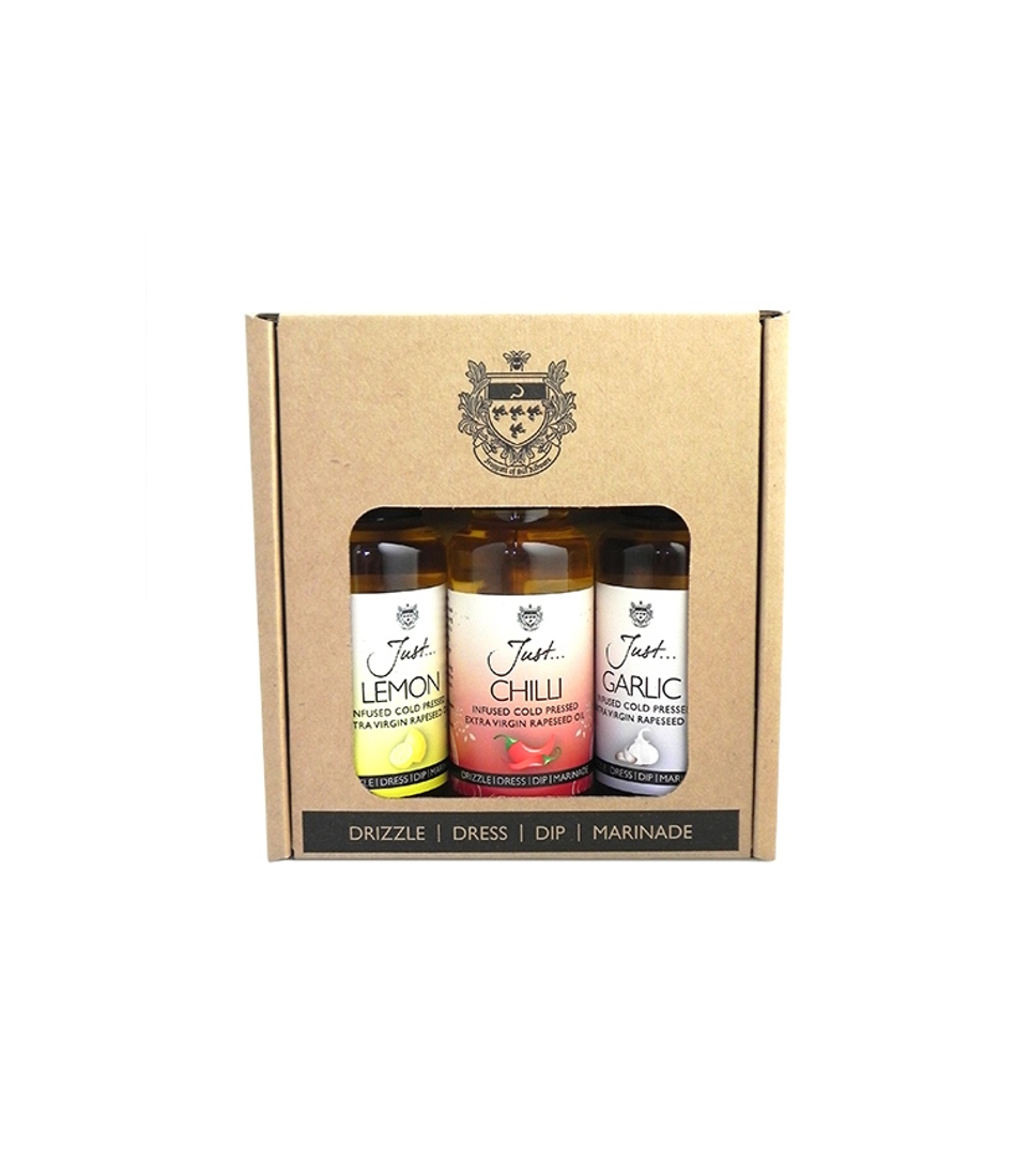 Just Oil Classic Gift Pack - Lemon, Chilli and Garlic-Infused British Rapeseed Oil, Cold Pressed Extra Virgin, 100 ml (Pack of 3)