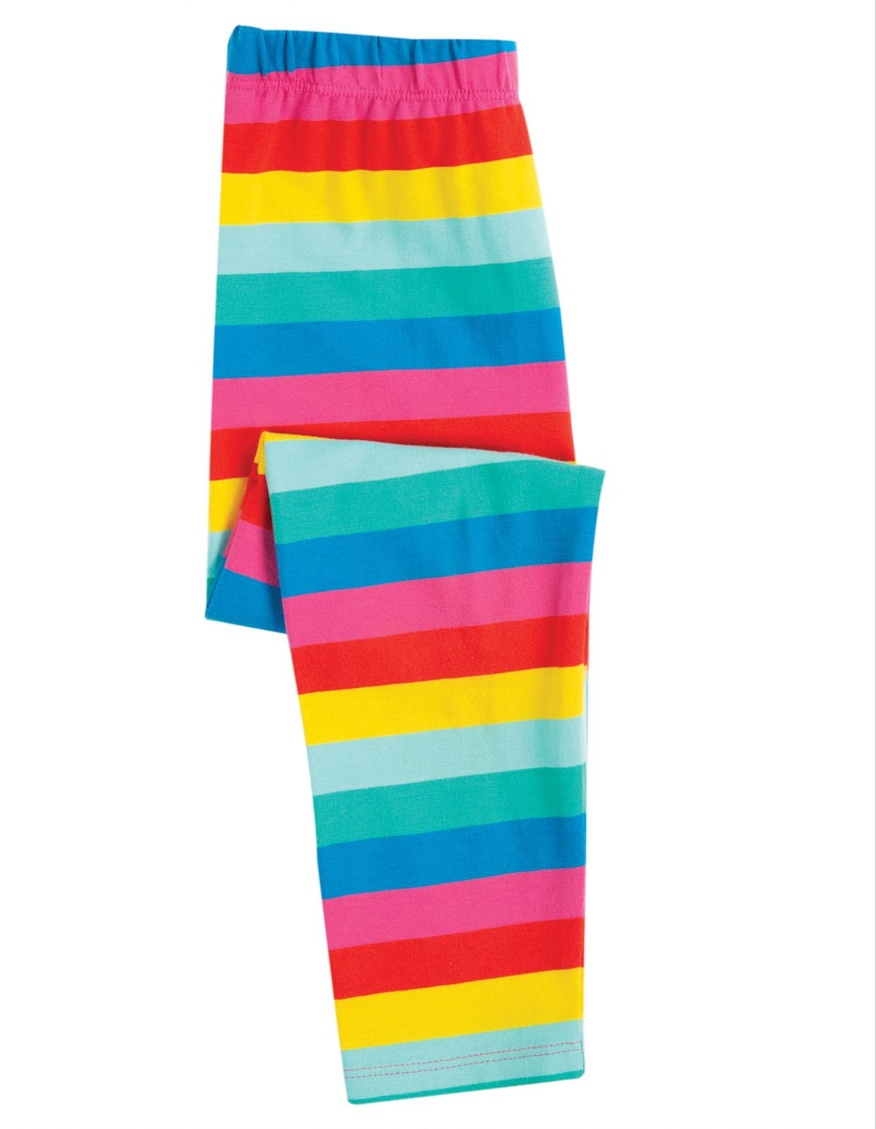 Frugi Libby Striped Leggings, Flamingo Multi Stripe