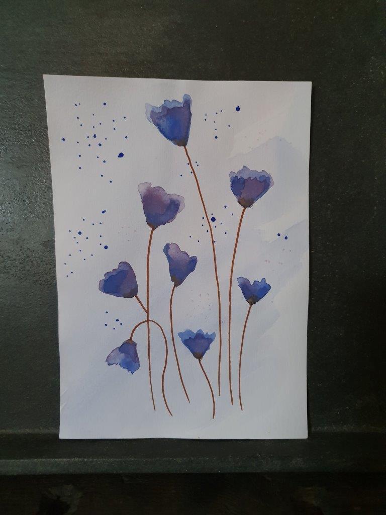 'Blue' Handpainted Card (C)