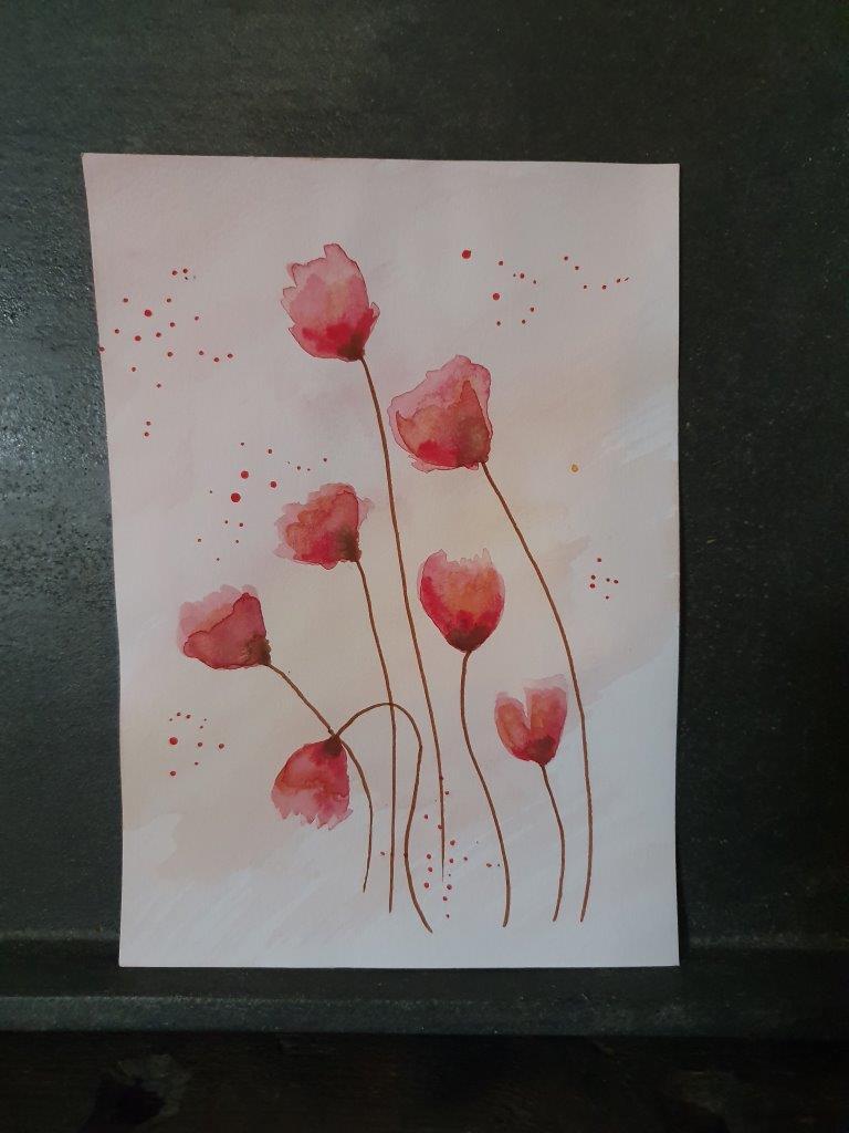 'Pink' Handpainted Card (C)