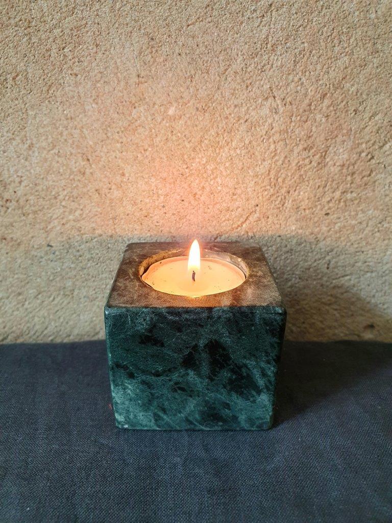 'Marble Candleholder' Darkgreen x2 (V)