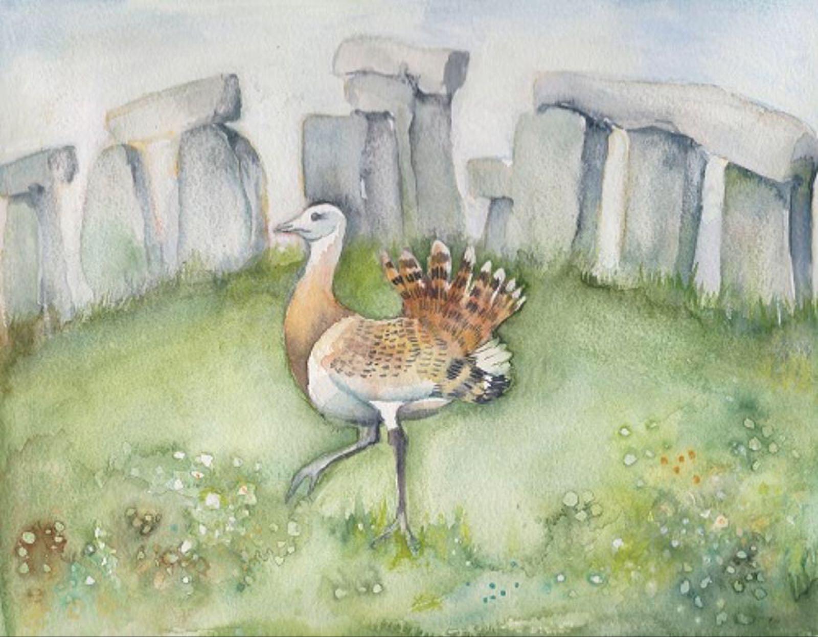 'Great Bustard & Stonehenge' Furzedown Gallery Mini Card