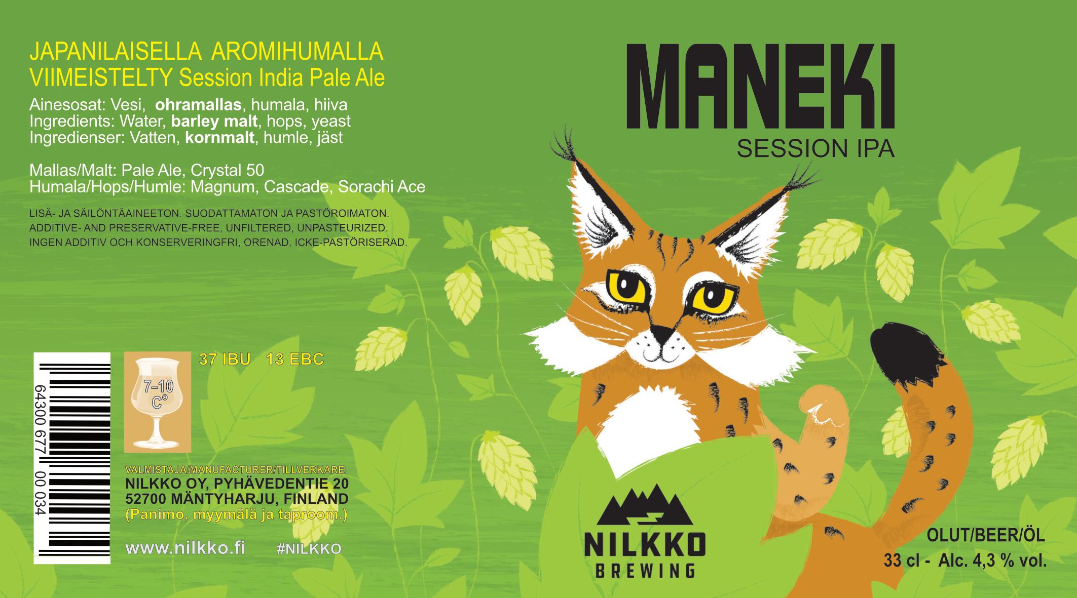 Maneki session IPA 4,3% - 0,33l