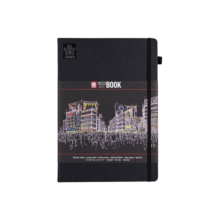 Sakura sketchbook, svarta blad, A4
