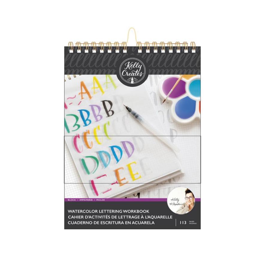 Kelly creates, watercolor Lettering workbook, block