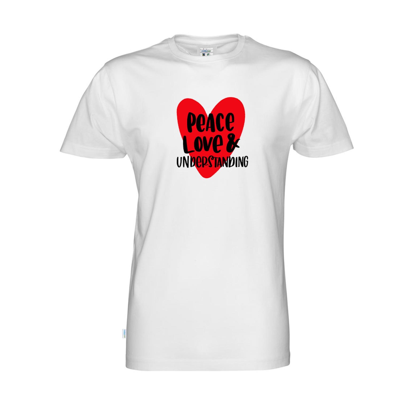 T-shirt dam, Peace, love & understanding