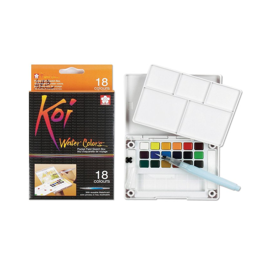 KOI water color sketch box, 18 färger