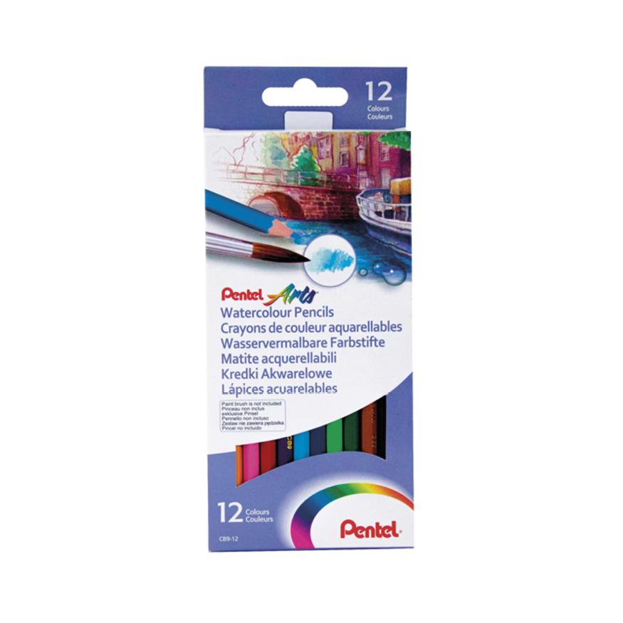 Akvarellpennor, 12-pack inkl. Aqua brush