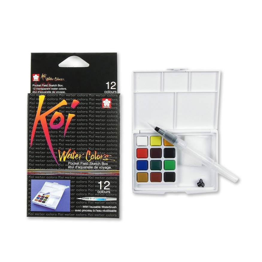 KOI water color sketch box, 12 färger
