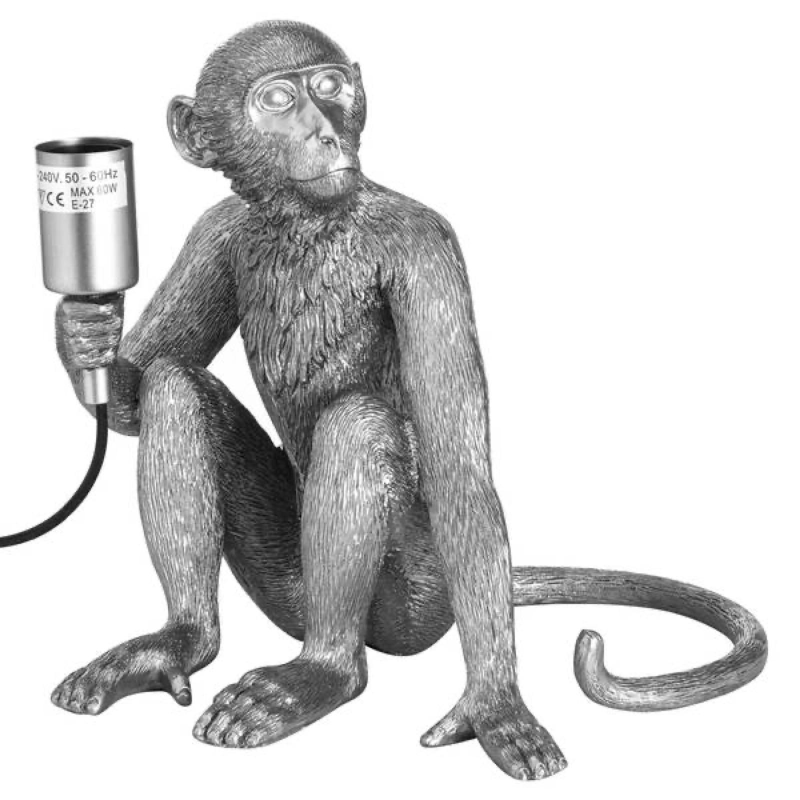 Silver monkey lamp  23cm x 30cm x 23cm